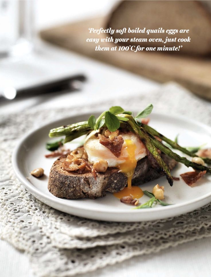 This recipe for Soft Boiled Egg with Sourdough, Asparagus and a Hazelnut, Prosciutto and Butter Dressing is made using steam. Perfectly soft boiled quails eggs are easy with your Miele Steam Oven, just cook them at 100°C for one minute