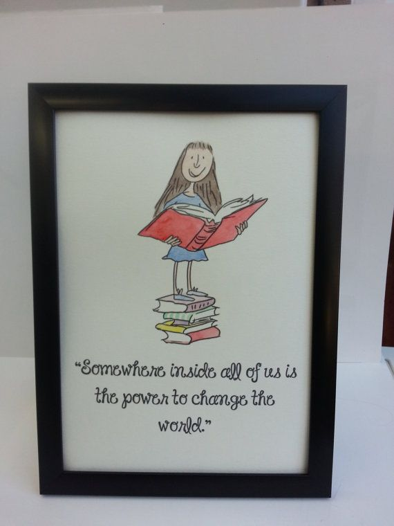 A4 Matilda Quote and Watercolour Painting Roald Dahl Quentin Blake Hand Painted