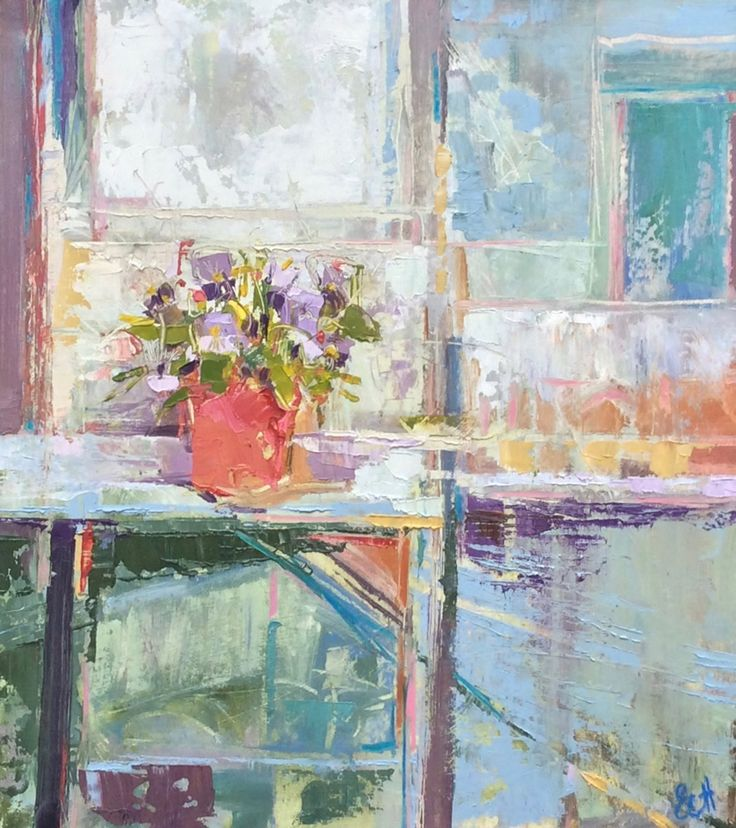 Pansy in the Greenhouse Oil on Board 48 x 43 cm £ 1,300  #Art #Paintings #StillLife
