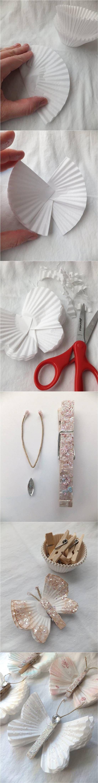 Creative Ideas – DIY Beautiful Butterflies from Cupcake Liners #craft #decor #butterfly