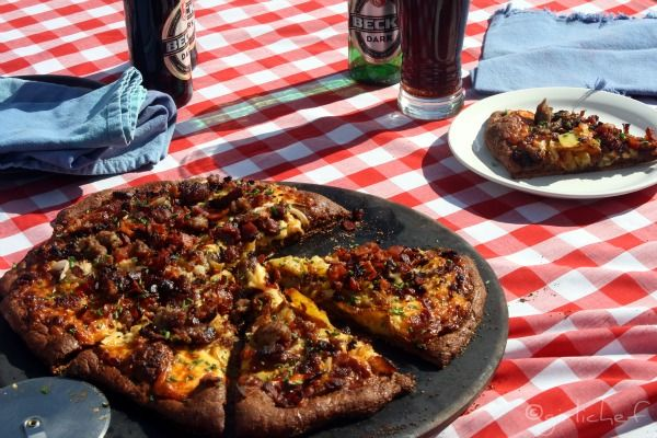 Oktoberfest Pizza, with a Pumpernickel Crust and Currywurst Sauce