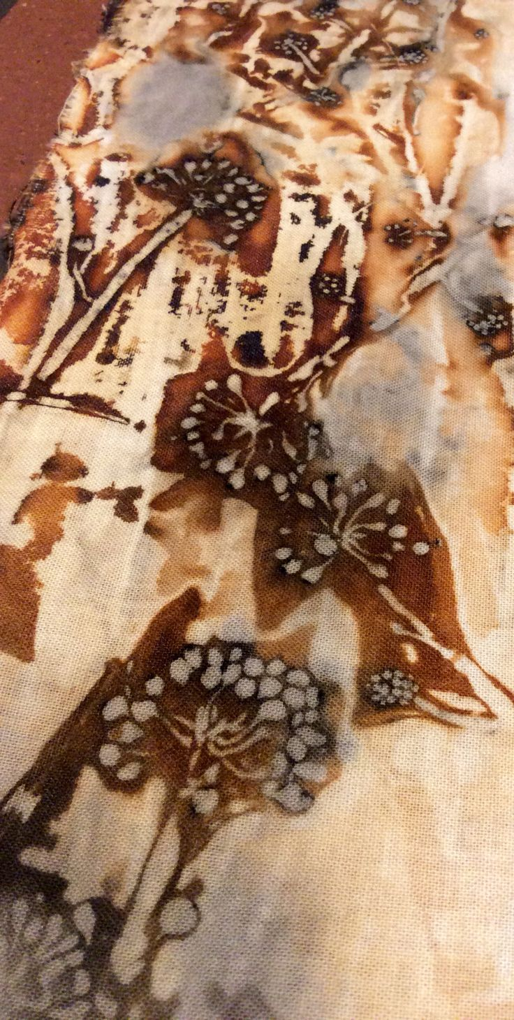 Ivy flowers and rust natural dying and Eco printing