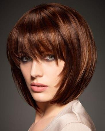 short hair with perfect bangs...red brown hair