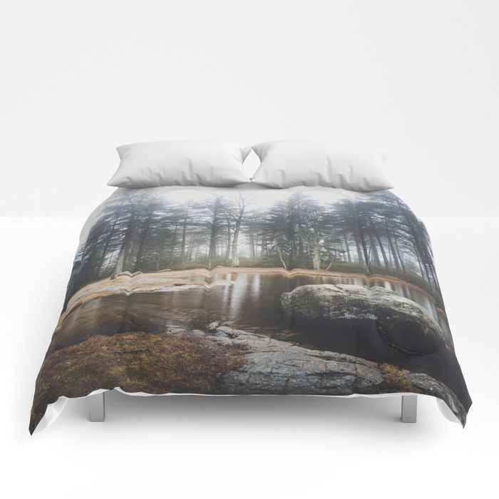 Moody mornings Comforters by HappyMelvin. #nature #wanderlust #landscape #forest #homedecor #comfoters