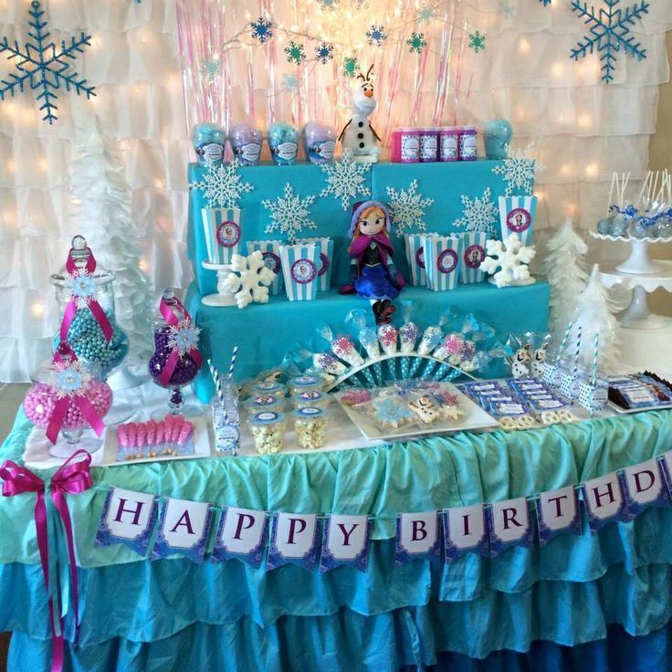 Best 25 frozen table ideas on pinterest frozen party for B day party decoration ideas