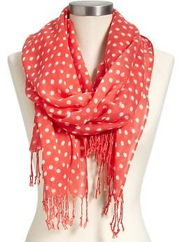 Super-cute first-day-of-school outfit. This scarf is from Old Navy. It'd be cute with a  simple white or colored tee and jeans.    Women's Printed Polka-Dot Scarves | Old Navy