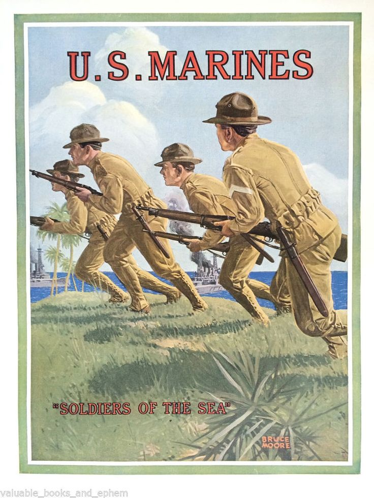 1914 Original WW1 Poster US Marine Corps USMC WWI Marines Recruiting Sea Soldier