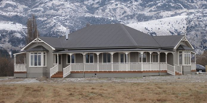 "From Villa Homes Designer Series ""Arrowtown"".  Love the hipped roof, multiple veranda's and box bays."