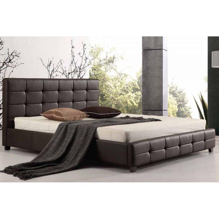 """Κρεβάτι τεχνοδέρματος διπλό """"FIDEL"""" από ενισχυμένο ξύλινο σκελετό και πλήρη επένδυση από υψηλής ποιότητας τεχνόδερμα (PU), σε σκούρο καφέ χρώμα."""