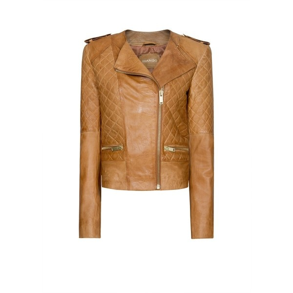 MANGO Quilted leather jacket ($290) ❤ liked on Polyvore