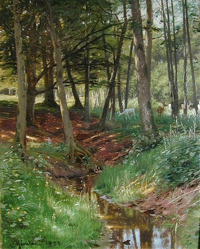 Peder Mørk Mønsted (1859-1941): Landscape with Deer,