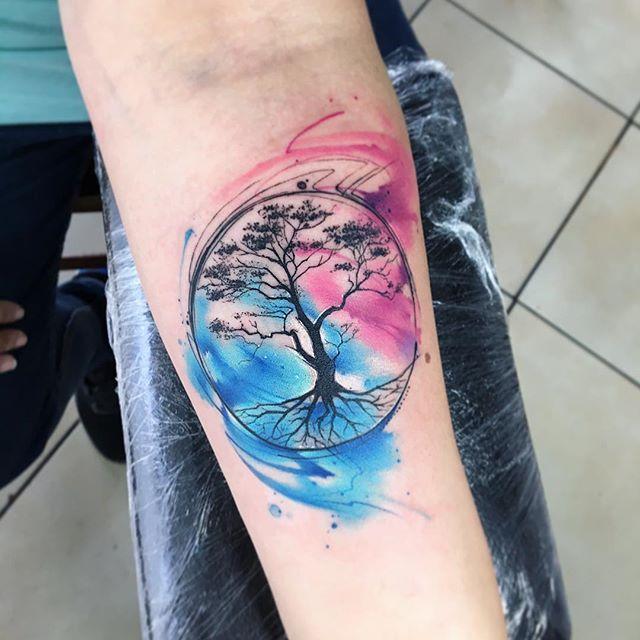 🌳🍃treelive🍃🌳 AB #tattoo #tatuaje #colors #aquarelle #watercolor #tree #arboles #arbordelavida #arbol #acuarela #ab