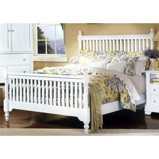 Vaughan Bassett 5 Pc Slat Poster Bedroom Set in Snow White Finish (Eastern King) - Furniture & Mattresses - Bedroom Furniture - Bedroom Sets & Collections
