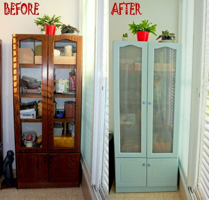 Before and After Furniture Renovation.  Furniture redo & makeover to an old cabinet.: