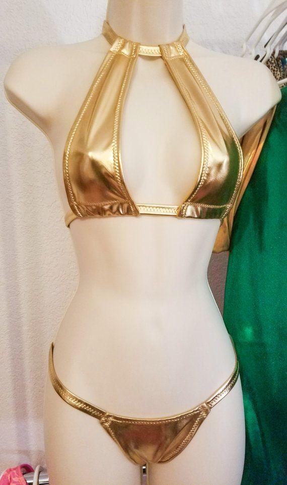 Shiny Gold Spandex High Neck Exotic Dancewear Bikini Set