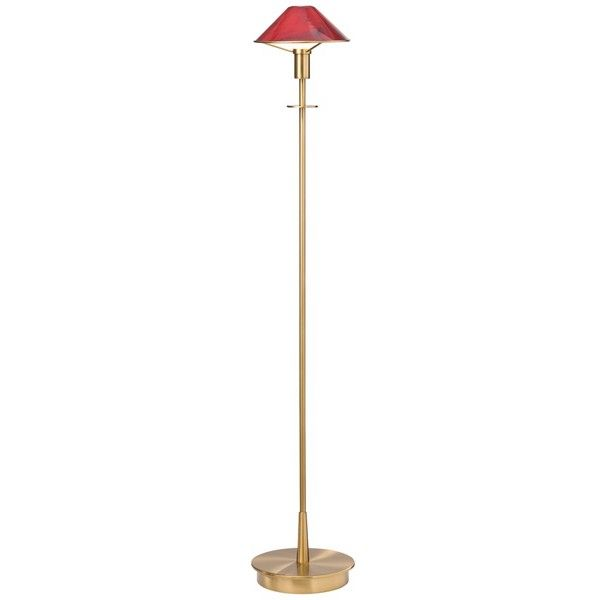 Holtkoetter Antique Brass Magma Red Glass Floor Lamp (£400) ❤ liked on Polyvore featuring home, lighting, floor lamps, red, red lamp, reading lights, red floor lamp, reading light and contemporary modern lighting