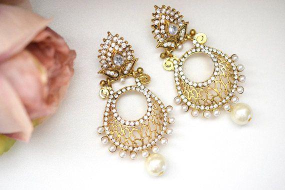 Gold Earring Crystal Chandelier  Pearl Wedding Bridal