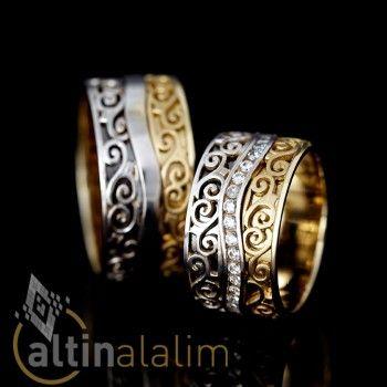 Çiçek Desenli Özel Tasarım  Altın Alyans : www.altinalalim.com #altin #altinalyans #gift
