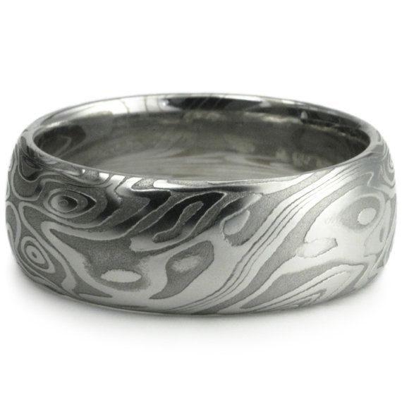 His Ring!!!   Damascus Steel Wide Mens Wedding Band  Four Pointed Swirling Star Pattern With Unique Organic Woodgrain.  Bold Masculine Handmade Ring.