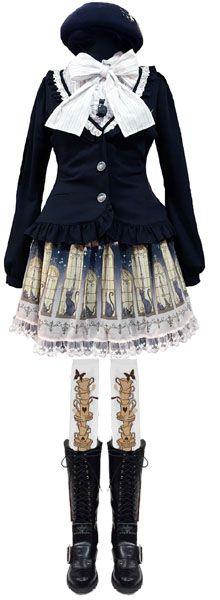 PUTUMAYO / プトマヨ  時計うさ刺繍ベレー (黒)  Plasmagica・自作じゃないにゃ♪ジャケット (黒/白)  切替フリルブラウス (白黒ストライプ)  窓ネコスカート (黒)  にゃんこベロブーツ (黒)