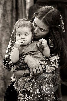 Gypsy Woman and Baby   black and white photography