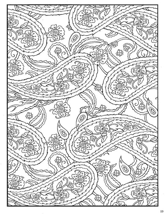 paisley Coloring Pages large Paisley Designs