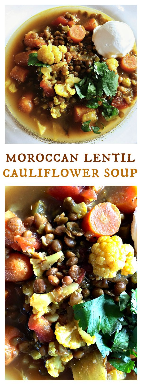 Moroccan Lentil Cauliflower Soup is a delicious winter Vegetarian soup to serve for lunch or dinner!