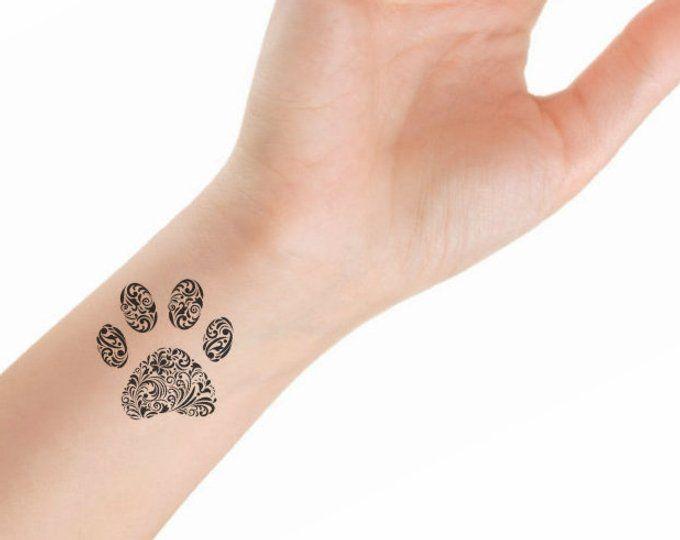 50183ff202e4f Temporary Tattoo 4 Heart Paw Finger Fake Tattoos Waterproof Thin ...
