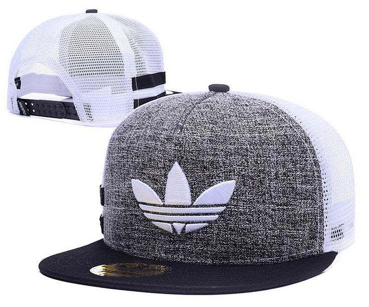 Men's Adidas Originals Clover 3D Embroidery Logo Customized Pattern Mesh Back Trucker Snapback Hat - Grey / Black / White