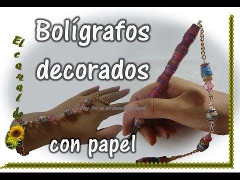 BOLIGRAFOS DECORADOS CON PAPEL
