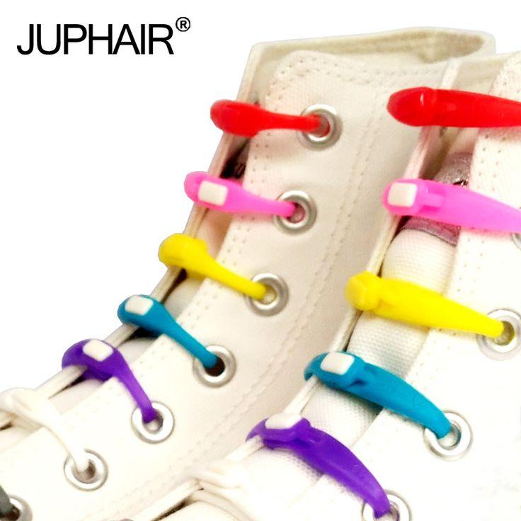 JUP1 Conjunto (12 Raiz/Set) pacote Novidade Não Amarrar Cadarços Unisex Elastic Cadarços de Silicone Todos Os Sneakers Fit Girth Esporte Da Lona do PLUTÔNIO