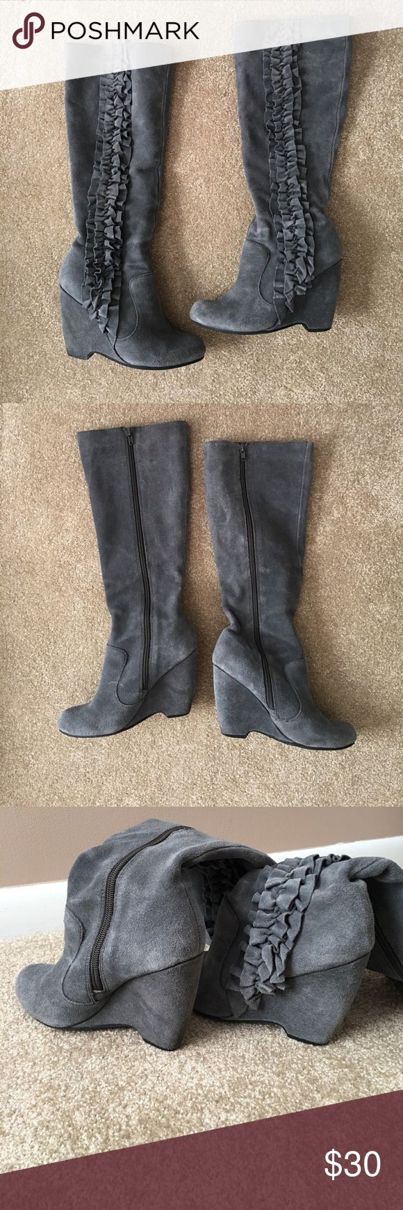 MIA Gray suede boots Gray suede ruffle boots Mia Shoes Heeled Boots