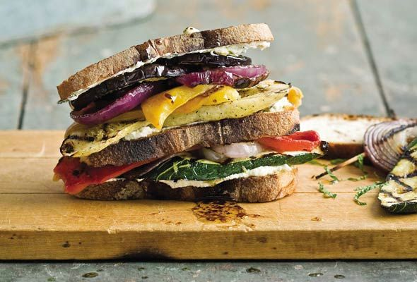 Grilled Veggie and Goat Cheese Sandwich. Insane.