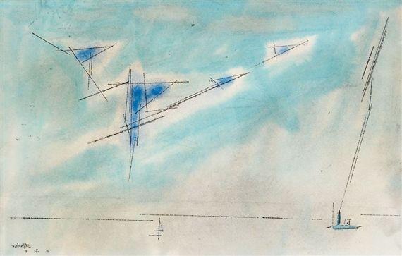 Artwork by Lyonel Feininger, Blauer Himmel über dem Meer, Made of watercolor, pen and ink over pencil on paper