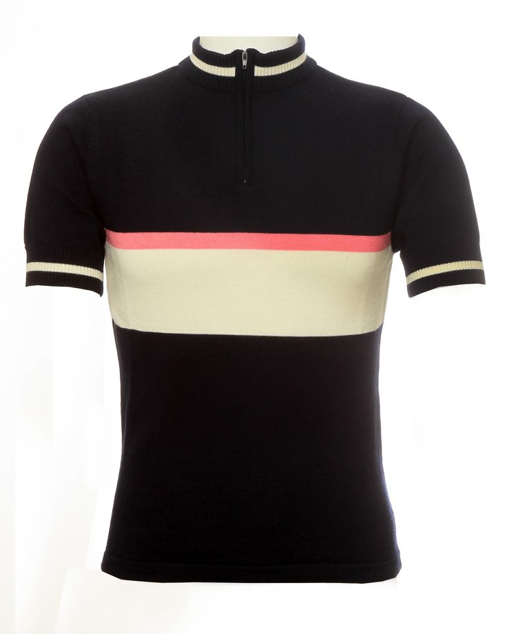 Navy blue, ecru and pink 100% merino wool retro cycling jersey, personalise this jersey on the ecru stripe