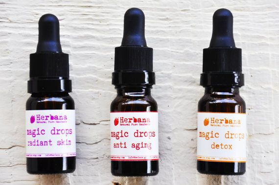 Magic Drops, Face Serum, Intensive Treatment, Natural Face Care, Organic Skin Care, Radiance, Anti aging, Detoxification by HerbanaCosmetics  Three extremely reinforced natural serums which have high percentages of organic essential oils and innovative carriers of ingredients to penetrate the deepest skin layers. They offer hydration, radiance, lifting, detoxification and anti-wrinkle action due to the power of nature.  A new effective, innovative product range to satisfy specific skin…