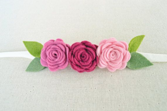 Headband with rose felt flowers in pink / Blooms by CraftyCatgr