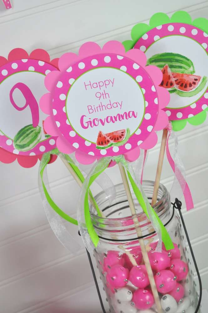 Gumball centerpieces at a watermelon birthday party! See more party ideas at CatchMyParty.com!
