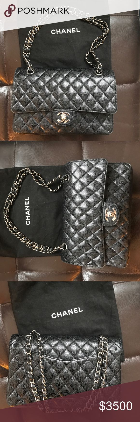 Chanel classic flap bag Classic Chanel with caviar leather and silver metal. The perfect size and bag for everyone. CHANEL Bags Shoulder Bags