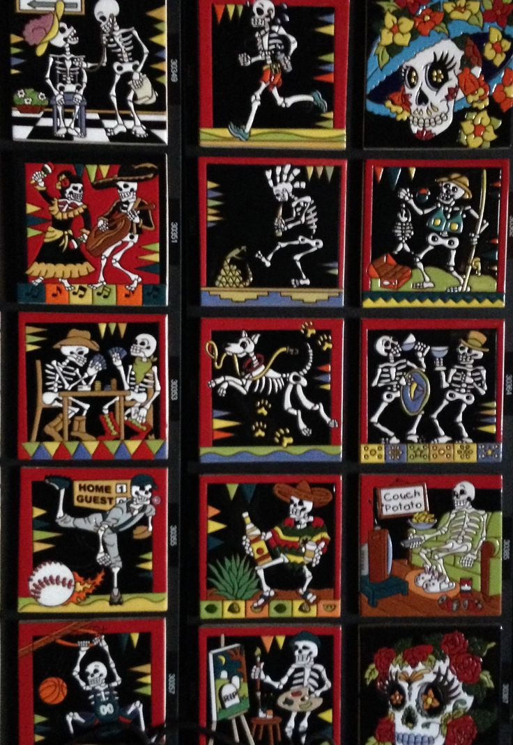 7 best day of the dead images on pinterest talavera pottery pool the day of the dead tiles in our gorky gonzalez collection consist of four male skeleton figures and four female each dressed in typical mexican clothing dailygadgetfo Choice Image