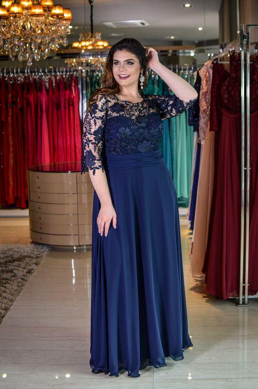 Vestido Longo Azul - Saia Justa Moda Festa - Vestidos e Acessórios - Curitiba