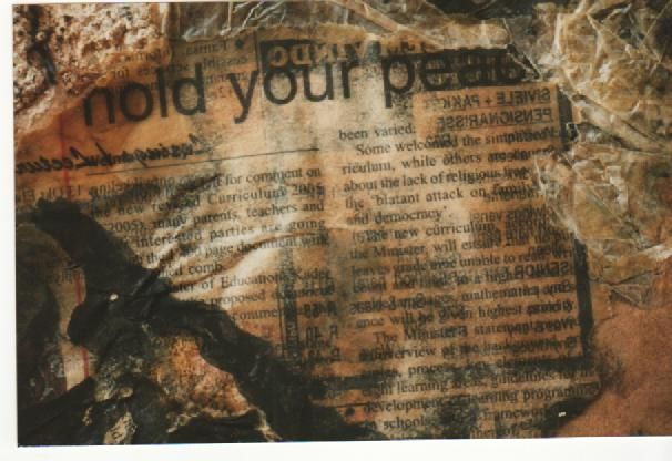 Old script. Mixed Media. Collage
