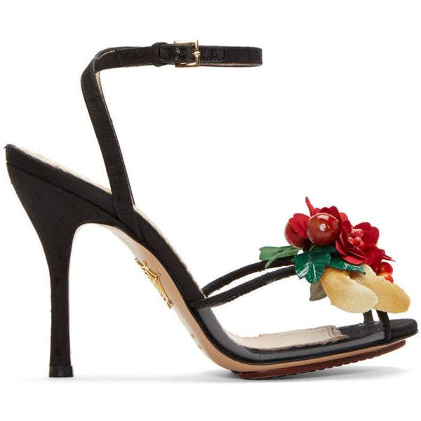 Charlotte Olympia Black Tropical Heeled Sandals ($550) ❤ liked on Polyvore featuring shoes, sandals, black, floral sandals, multi colored sandals, clear heel sandals, peep toe sandals and multi color sandals