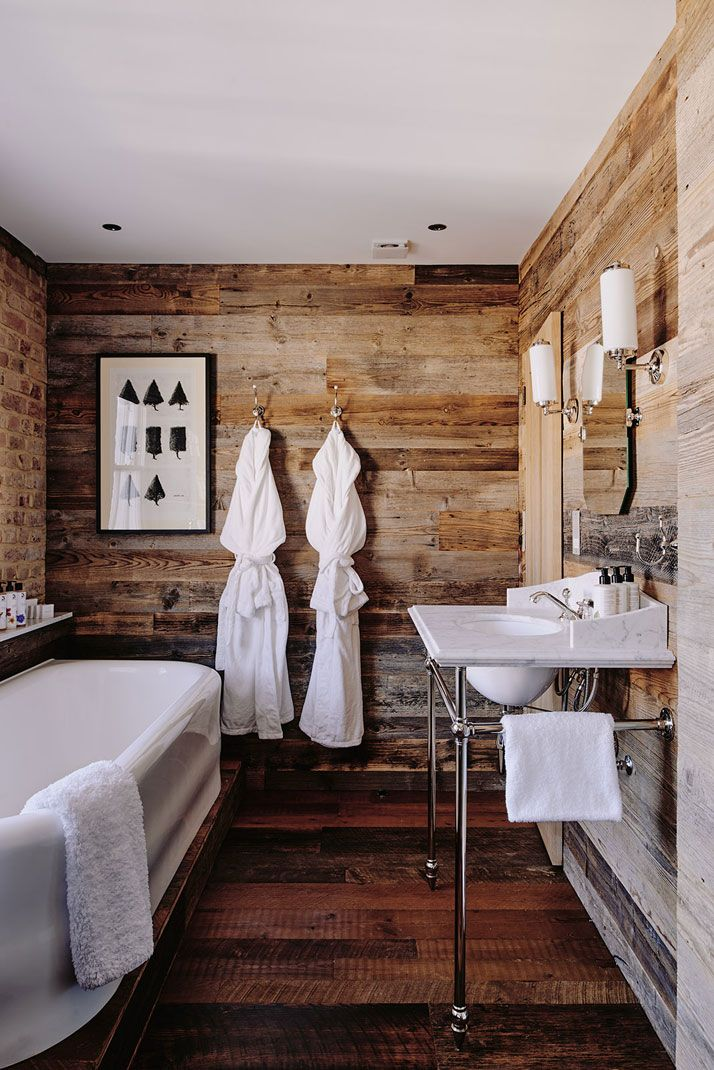 wood paneled walls in the bath // New Artist Residence Hotel in London