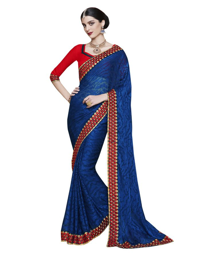 Buy Now Royal Blue Fancy Embroidery Brasso Party Wear Saree With Dhupian Blouse only at Lalgulal.com. Price :- 2,320/- inr. To Order :- http://goo.gl/eqWtWp. COD & Free Shipping Available only in India