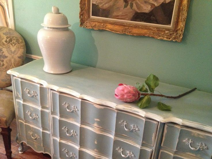 french provincial furniture | French Provincial Dresser European Painted Distressed Vintage Robins ...