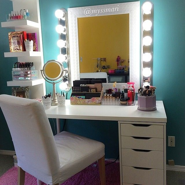 Vanity inspiration by @myssmari A girly girl's favorite place when applying makeup the desk is called linnmon/drawer set. They have different table top sizes if you want two sets of drawers. She purchased hers for around $122✨ Thank you for sharing your vanities on #vegas_nay #vegasnay #Padgram