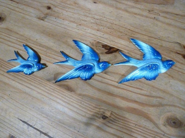 True vintage flying swallows,set of three,plaster,1950s? | eBay