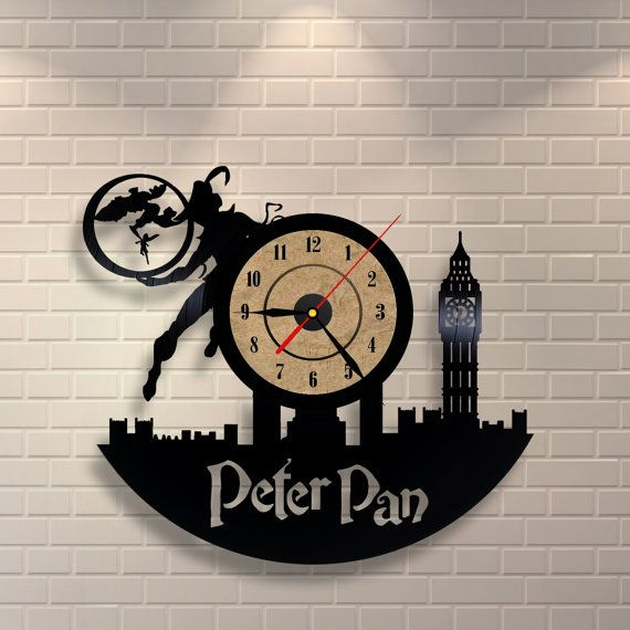 Peter Pan wedding vinyl record wall clock by Vinylastico on Etsy