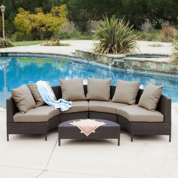 Christopher Knight Home Newton Outdoor 5 Piece Dark Brown Wicker Lounge Set    Overstock™